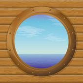 Mar en una ventana de la nave — Vector de stock