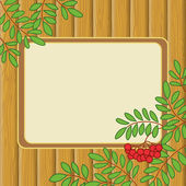 Background with rowanberry and table — Stock Photo