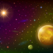 Space background with planet and sun — Stock Photo