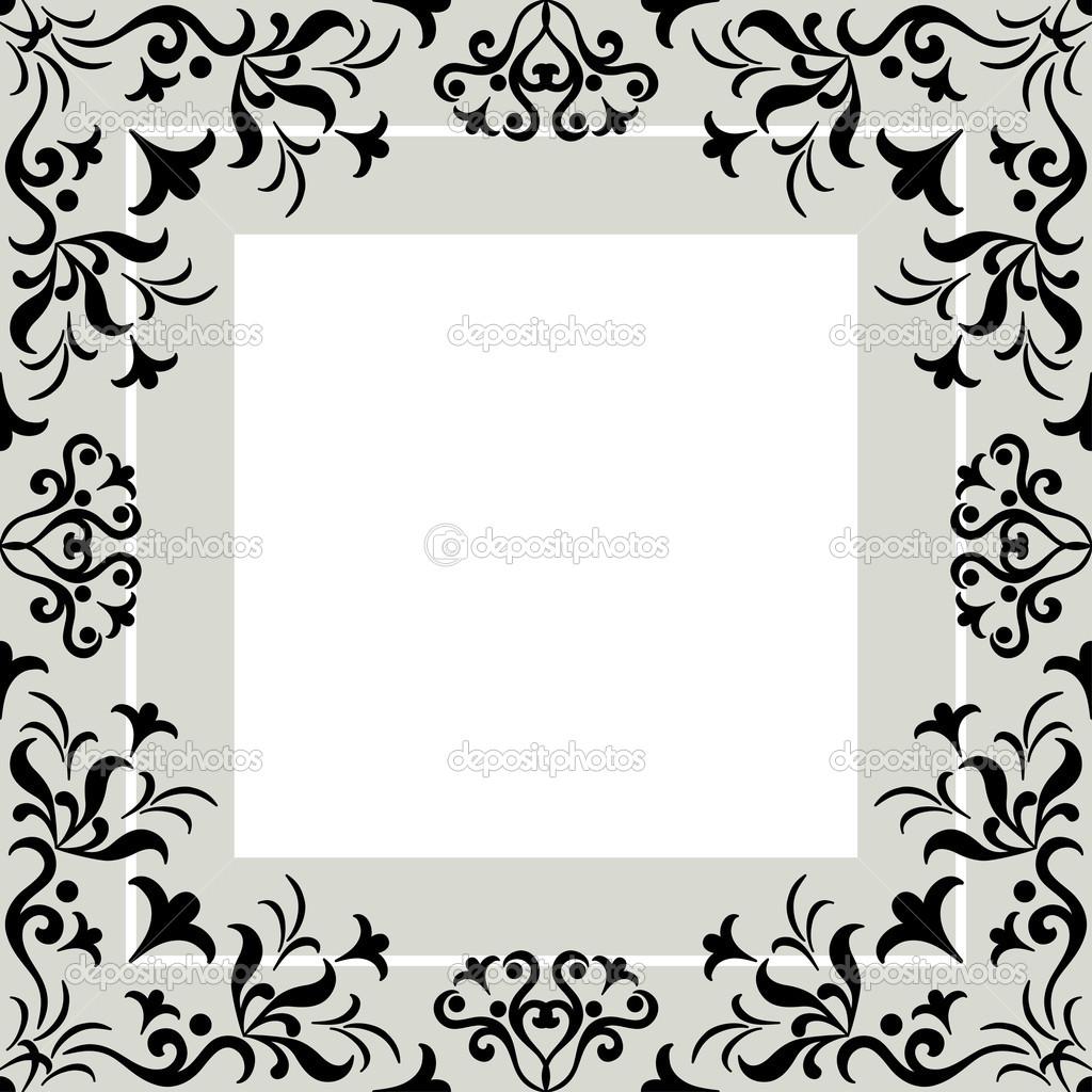 带符号的复古花纹,黑色轮廓帧上灰色和白色抽象背景