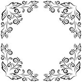 Abstract floral frame, black contour — Stock Photo