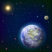 Earth, moon and sun — Stock Photo