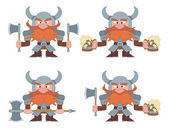 Dwarfs with beer mugs and axes, set — Stock Vector