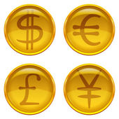 Buttons with currency signs, set — Stock Vector