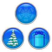 Christmas buttons, set — Stock Vector