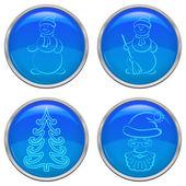 Christmas buttons, set — Stock Vector