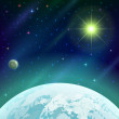 Stock Photo: Space background with planet and sun