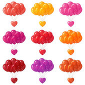 Balloons bunches with hearts, set — Stock Vector