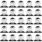 Office smileys, set, black contour — Stock Photo