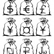 Постер, плакат: Bag with currency sign set pictograms