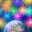Earth in space with fireworks — Stock Photo