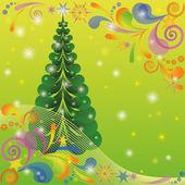 Kerstmis achtergrond met fir tree — Stockvector