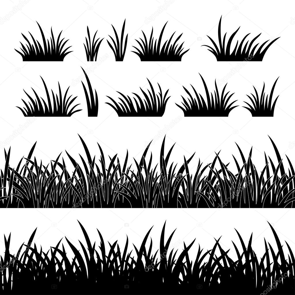 Grass Outline Vector Line seamless and set of grass