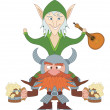 Friends drunken, elf and dwarf — Stock Photo