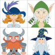 Fantasy heroes, set avatars — Stock Photo