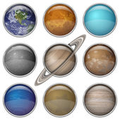 Solar System planets, set buttons — Stock Vector