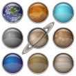 Stock Photo: Solar System planets, set buttons