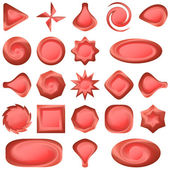 Set red buttons different forms — Stockvector