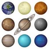 Solar System planets and moon, set — Stock Vector