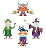 Fantasy heroes, set — Stock Vector