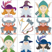 Fantasy heroes, set avatars — Stock Vector