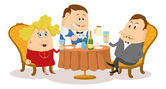 Restaurant, couple near table, isolated — Stock Vector