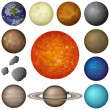 Solar System planets and moon, set — Stock Photo