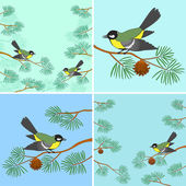 Titmouse on pine branch, set — Stockvector