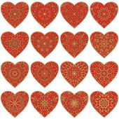 Valentine heart with patterns, set — Stock Vector