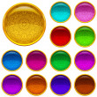 Golden buttons with patterned gems, set — Stock Photo