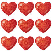Valentine red hearts with pattern, set — Stock Vector