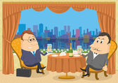Two gentleman businessman in Restaurant — Stock Vector