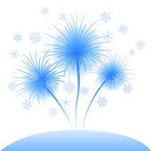 Snowflakes flowers dandelions — Stockvector