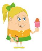 Little girl with ice cream — Stock Vector
