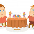 Children near table, isolated — Stock Photo