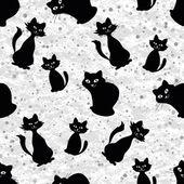 Bezszwowe tło z kotów sylwetki — Wektor stockowy
