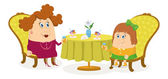 Mother and daughter near table, isolated — Stock Vector