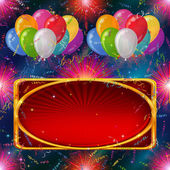 Holiday background, balloons with banner — Vector de stock