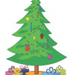 Christmas tree with toys and gift boxes — Stock Photo