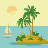Island with palm and ship — Stock Photo