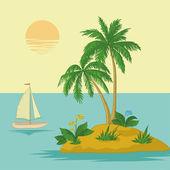 岛,棕榈和船 — 图库照片