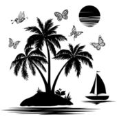 Island with palm, ship, butterflies, silhouettes — Stock Vector
