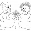 Stock Photo: Snowballs with Christmas bouquet, outline