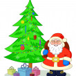 Santa Claus and Christmas tree — Stock Photo