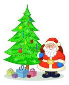 Santa Claus and Christmas tree — Stock Photo