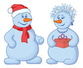 Snowballs with a gift box — Stock Photo