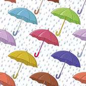 Umbrella and rain, seamless background — Stock Vector