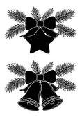 Kerst bells en ster — Stockvector