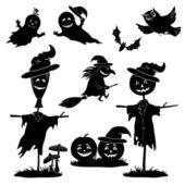 Halloween cartoon, set black silhouette — Stock Vector