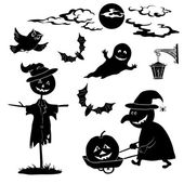 Halloween cartoon, set black silhouette — Stock Vector